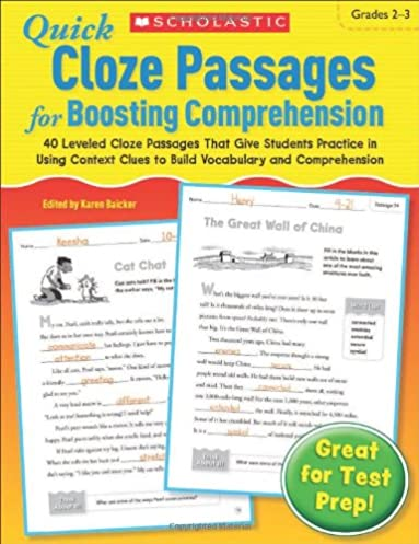 Cloze reading passages fifth grade