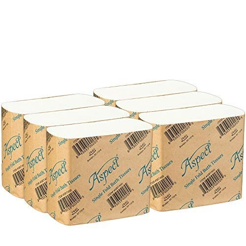 Interfold Bath Tissue - Aspect Singlefold Interfold Pop Up Toilet Paper, White, 400 Bathroom Tissue Sheets Per Package Pack of 6 (2400 Bath Tissues Total)
