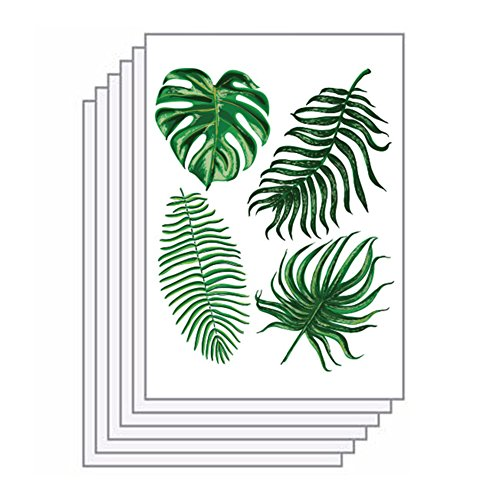 Removable Leaf - ink2055 6 Sheets Green Palm Leaves Tropical Removable Wall Decal Sticker Home DIY Decor