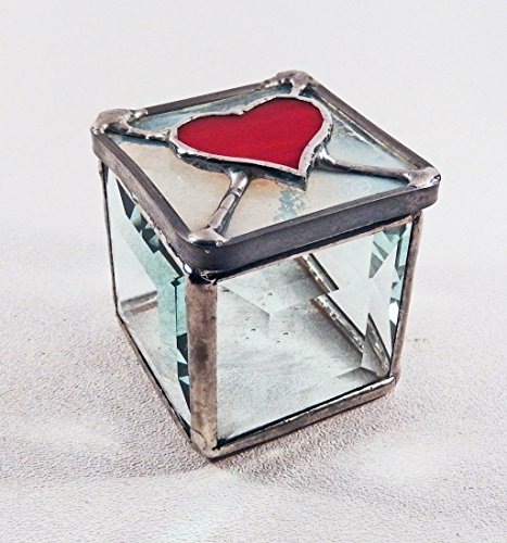 Small Beveled Stained Glass Box with Red (Red Glass Heart Ornaments)
