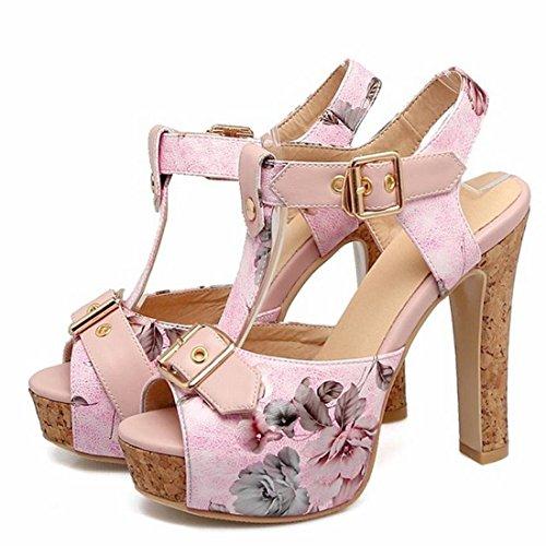 YE Women's High Block Heels Platform T-Bar Shoes with Ankle Strap Peep Toe Sandals Summer Pumps Pink aS1hV