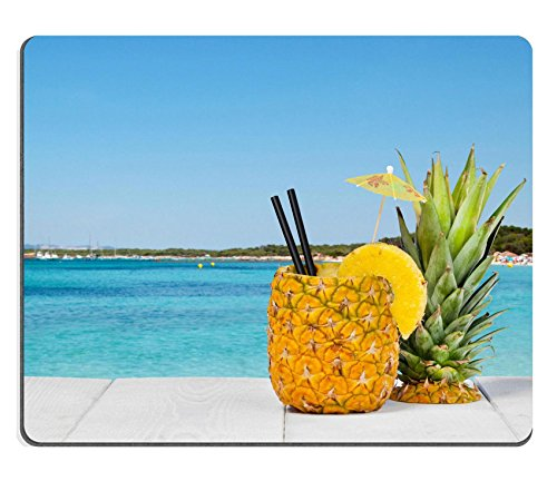 Luxlady Gaming Mousepad Id  41066810 Pineapple Juice Served In The Peel On White Wood Table