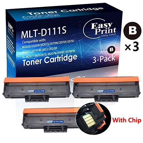 (3-Pack (3xBlack) Compatible 111S MLT-D111S Toner Cartridge (with CHIP) for use in Samsung M2020 2020W 2022 2022W 2070 2070W 2070F 2070 Printer, Sold by EasyPrint)