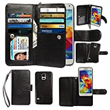 Case for Samsung Galaxy S5, xhorizon Premium Leather Folio Case [Wallet Function] [Magnetic Detachable] Fashion Wristlet Lanyard Hand Strap Purse Soft Flip Book Style Multiple Card Slots Cash Compartment Pocket with Magnetic Closure Case Cover Skin ZA5 for Samsung Galaxy S5 (i9600) - Black