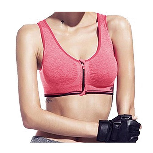 Soutiens-gorge - TOOGOO(R)Soutiens-gorge de sport zippe sans jantes Soutiens-gorge de Yoga antichoc de haute intensite rose S