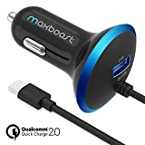Quick Charge 2.0 Car Charger, Maxboost 30W USB Car Charger 2.4A with QC 2.0 MicroUSB Cable for Samsung Galaxy S8 Plus/S7/S6/Edge/Note 5 8,HTC One,LG G6 G5,Nexus 5X 6P, iPhone X 8 7 6 6S,iPad and More