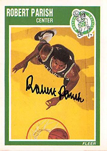 (Robert Parish autographed basketball card (Boston Celtics NBA Champion) 1989 Fleer)