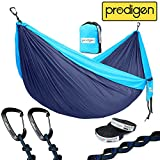 Prodigen Double Parachute Camping Hammock-Outdoor Portable Backpacking Hammock for Hiking,Travel,Beach,Backyard-Best Two Person Lightweight Nylon Hammocks with Straps. 500LB(Navy Blue/Light Blue)