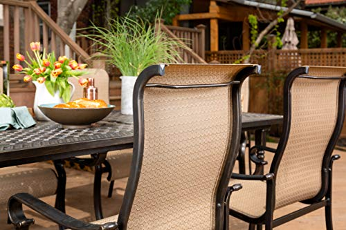 Brigantine 7-Piece Rust-Free Aluminum Outdoor Patio Dining Set with 6 Dining Chairs and Aluminum Rectangular Dining Table, BRIGANTINE7PC - Multi-step antique finish over rustproof aluminum frames on both table and chairs Anti-corrosion Interpol power coating on both table and chairs Tabletop features an attractive lattice pattern - patio-furniture, dining-sets-patio-funiture, patio - 51SFfko71TL -