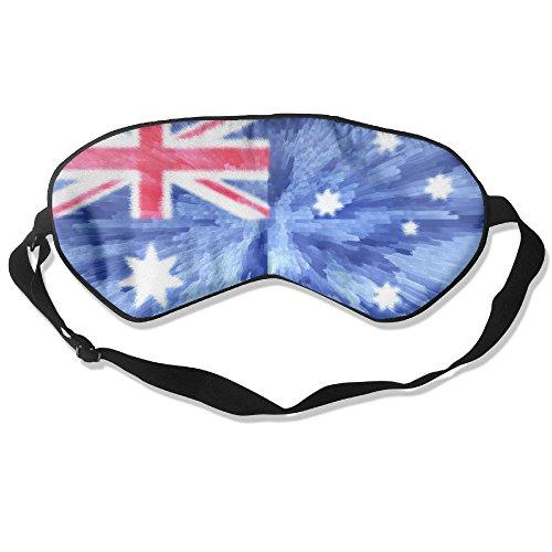 Longnankejilifeaa Sleep Eyes Masks Covers Blue Australia Flag Art Silk Sleeping Blindfold Luxury Adjustable Strap Eyeshade For Travelling Shift Work Night Noon Nap Yoga