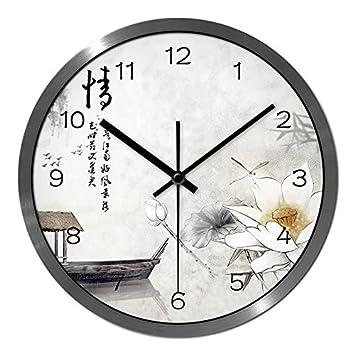 Das Wohnzimmer Kreative Wanduhr Wind Lotus Teich Und Stilvolle Konzept  Ultraleise Berg Uhren , 5037,