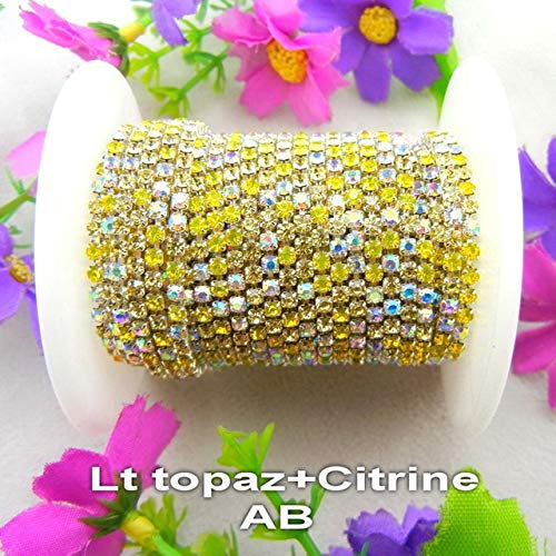 Pukido High Density 5yards/Roll Silver Claw Colors Mix ss6 2mm ss8 2.5mm ss10 2.8mm ss12 3mm Rhinestone Chain Sew On Glue on Trim - (Color: A10 Lt Topaz Citrine, Size: SS6 2mm 5yards)