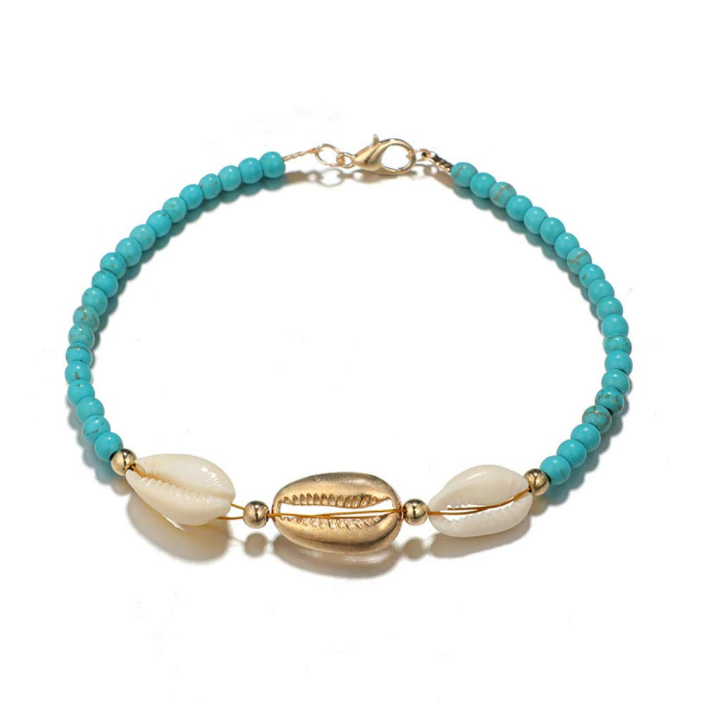 LIANGLI Anklet Bracelet with Hemp Rope Weaving Beads Foot Chain for Women and Girls