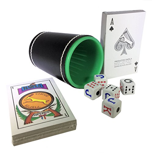 - Spanish Poker Dice Cup Plastic Cubilete with Spanish Naipes and Poker Cardboard Party Playing Cards Deck Casino Game Bundle
