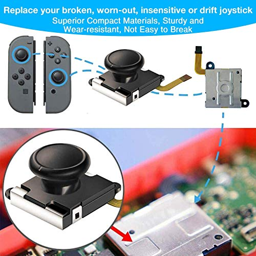 Joycon Controller Replacement Parts, (4 Pack) Switch Analog Parts for Nintendo Switch Joy Con,4 Thumb 3D Sticks,2 Metal Buckles,2 Screwdriver,Pry Tools,6 Thumbstick Grips