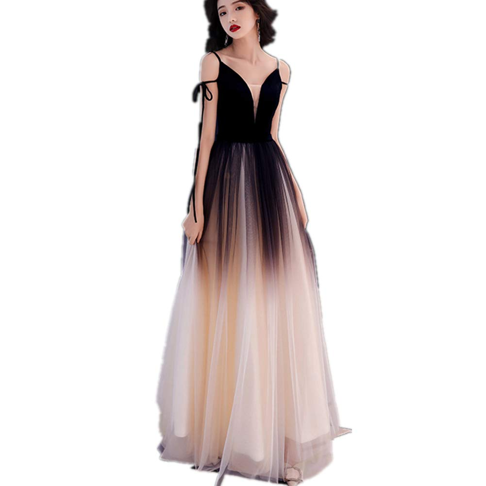 Black Women's Spaghetti Straps Prom Dresses Long Tulle Formal Evening Gown