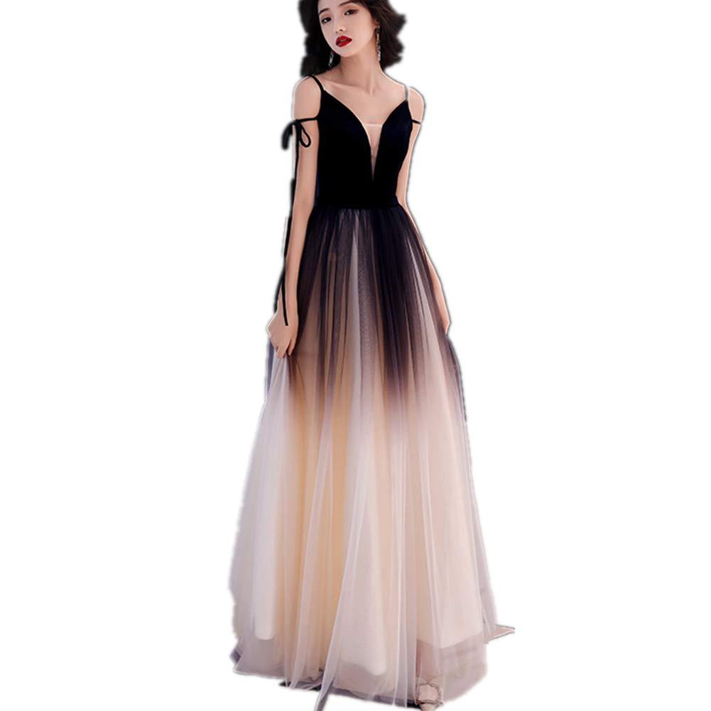 Black Women's Spaghetti Straps Prom Dresses Long Tulle Formal Evening Gown