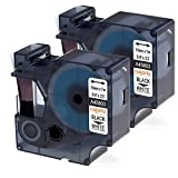 D1 45803 Label Tape, Black print on White tape, coLorty 2 Pack Standard Labeling Tape Cartridge 3/4'' W x 23' L (19mm x 7m) Compatible for DYMO LabelManager 420P 500TS Wireless Plug N Play