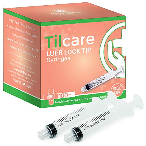 5ml Syringe Without Needle Luer Luck 100 Pack by Tilcare - Sterile Plastic Medicine Droppers for Children, Pets or Adults - Latex-Free Oral Medication Dispenser - Syringes for Glue and Epoxy