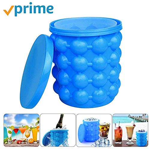 Ice Bucket,Large Silicone Ice Bucket & Ice Mold with lid, Silicon Ice Cube Maker LEADTEAM, (2 in 1)...