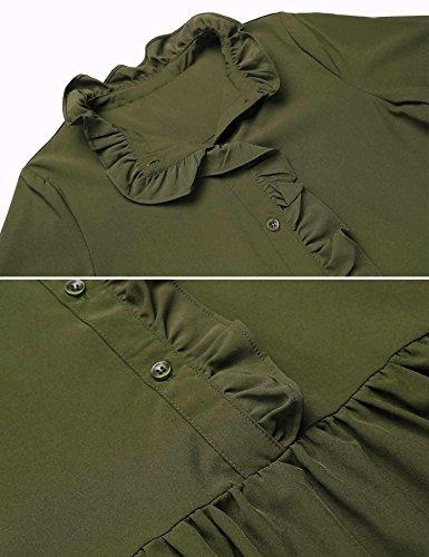 Con Vestito Maglia Lunga A Della Casuale Frontale Camicia Manica Oliva Cintura Allentato Verde Pulsante Rigonfiamenti STAUqwA