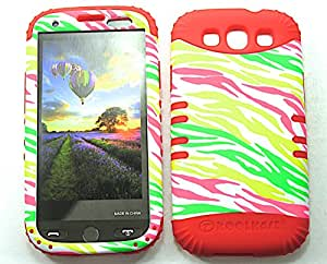 SHOCKPROOF HYBRID CELL PHONE COVER PROTECTOR FACEPLATE HARD CASE AND RED SKIN WITH STYLUS PEN. KOOL KASE ROCKER FOR SAMSUNG GALAXY S III S3 I9300 ZEBRA RD-TE194