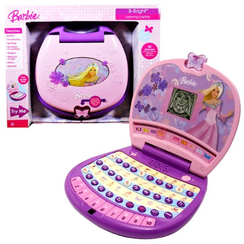 Laptop Barbie B (Oregon Scientific Year 2007 Barbie Series Learning Laptop : B-BRIGHT with 20 Learning Activities (10 English and 10 Spanish) Plus Games and Activities that Teaches Letter, Vocabulary, Spelling, Numbers and Counting, Music, Shapes, Memory and Logic)