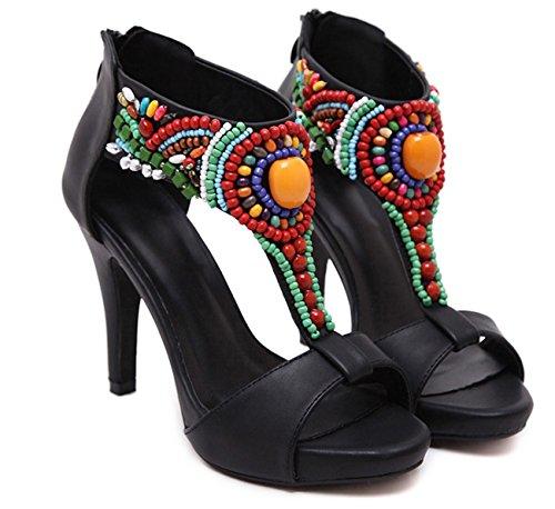 con con alto Cm tacco tacchi Nero Sandali per Donna Huaishu donna alti 11 Sandali qnU88a