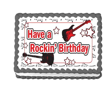 CakeSupplyShop Item#46161 Rock Star Guitar Edible Cake Topper