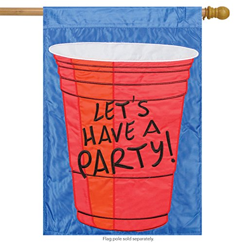 Red Solo Cup Two-Sided House Flag Let's Have a Party