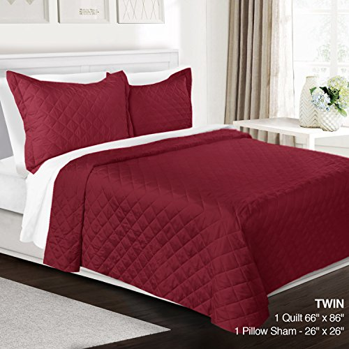 3 Piece Quilt Set Twin Size By Clara Clark - Luxury Bedspread Coverlet Soft All Season Microfiber - Machine Washable - Comes in Many Colors - set includes Quilt & Shams