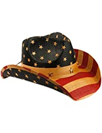 USA American Flag Straw Cowboy Hat w/Shapeable Brim, Red, White, Navy Blue