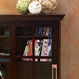 Sliding Door Media Cabinet - 4 Adjustable Shelves - Expresso Wood Finish