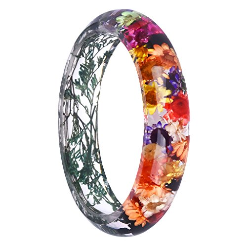 Jili Online Charm Multi-color Lucite Dried Flowers Incased Resin Cuff Bracelet Bangle Boho Style - Multi-color (Lucite Plastic Bangle)