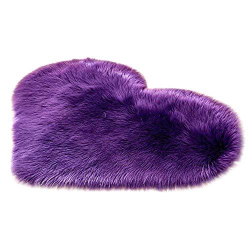 (AOLVO Heart Carpet Microfiber Soft Fluffy Rug Heart Shaped Decoration Rug Area Rug Kitchen Rug Pet Rug Door Mat for Living Room Bathroom Bedroom Kitchen)