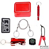 Emergency Survival Gear Kit, FOME SPORTS&OUTDOORS Outdoor Emergency Survival Gear Kit SOS Survival Tool Pack 6 Pieces One Pack