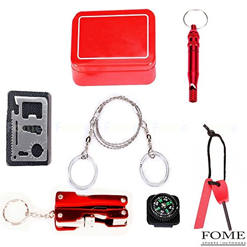 Emergency Survival Gear Kit, FOME SPORTS&OUTDOORS Outdoor Emergency Survival Gear Kit SOS Survival Tool Pack 6 Pieces One Pack by FOME