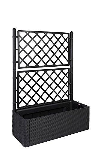 XL Rankgitter, Spalier mit Pflanzkasten in moderner Rattan-Optik aus robustem Kunststoff in Anthrazit/ Grau. Maße BxTxH in cm: 100 x 43 x 142 cm. Topp für Garten, Terrasse und Balkon!