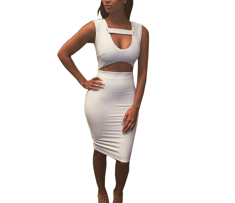 Xuan2Xuan3 Womens Cut Out Sleeveless Bodycon Bandage Midi Club Dress White