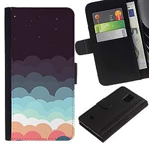 KingStore / Leather Etui en cuir / Samsung Galaxy S5 Mini, SM-G800 / Hermoso Pastel Nubes minimalista
