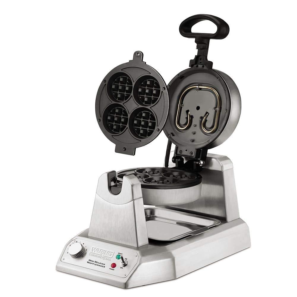 Waring WMB400X Single Mini Belgian Waffle Maker w/Cast Aluminum Grids