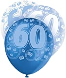"12"" Latex Glitz Blue 60th Birthday Balloons, Pack of 6"