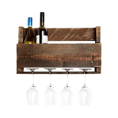 del Hutson Designs - The Little Elm Wine Rack, USA Handmade Reclaimed Wood, Wall Mounted, 4 Bottle 4 Long Stem Glass Holder (Walnut)