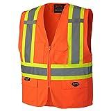 Pioneer V1022150-M Front Zipper High Visibility Safety Vest, Orange, M