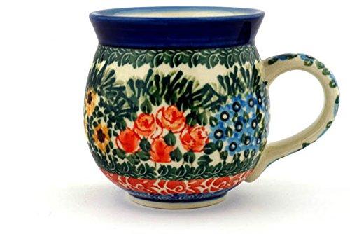 (Polish Pottery Bubble Mug 12 oz Perennial Border UNIKAT made by Ceramika Artystyczna )