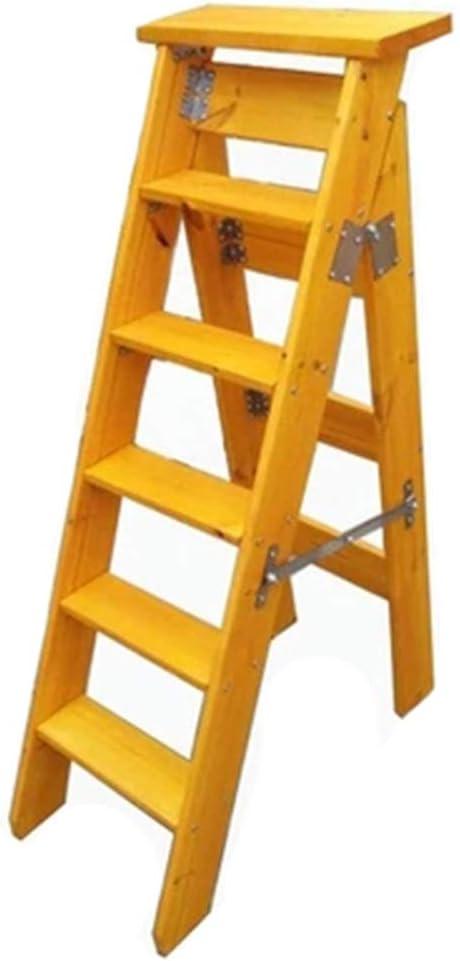 DXZ-Escalera Taburete Plegable 6 escalones de Madera Espiga Biblioteca en casa Loft/florero/montacargas/Taburete - rodamiento 100 kg, Pomelo Amarillo: Amazon.es: Hogar