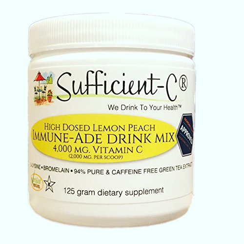 Sufficient-C® High Dose Non-GMO Vitamin C Lemon Peach Immune-Ade drink mix, 125 grams