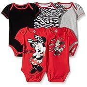 Disney Baby Girls Girl Minnie 5 Pack Bodysuit, Red, 0-3 Months