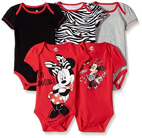 Disney Baby Girls  Girl Minnie 5 Pack Bodysuit, Red, 0-3 Months -