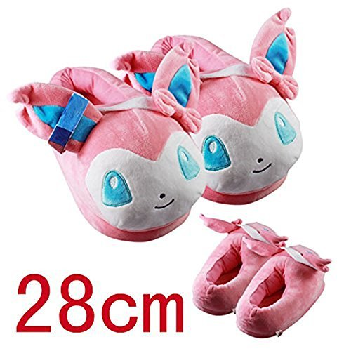 Anime Adult Shoes - Pokemon Sylveon Soft Plush Slippers Warm Anime Cosplay Adult Shoes 11Inch